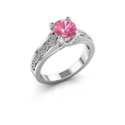Engagement ring Clarine 585 white gold pink sapphire 6.5 mm