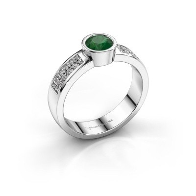 Verlovingsring Ise 3 585 witgoud smaragd 4.7 mm