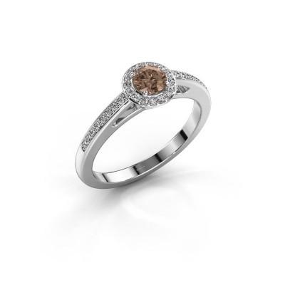Verlovingsring Aaf 950 platina bruine diamant 0.46 crt