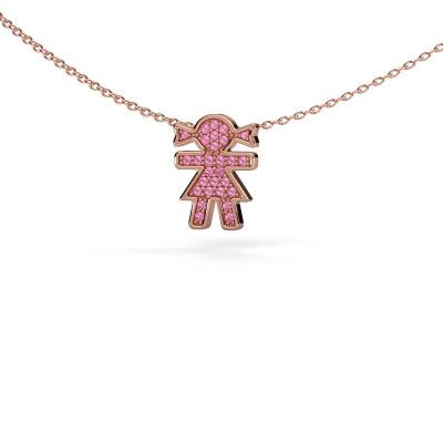 Collier Girl 585 rosé goud roze saffier 1 mm