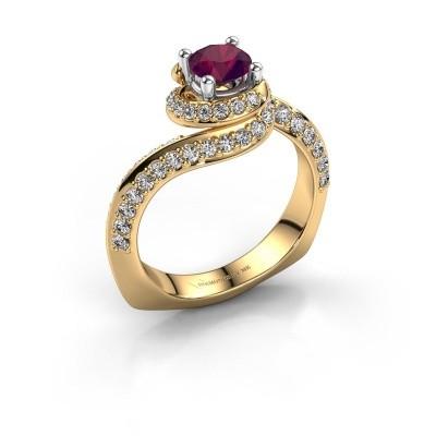 Verlovingsring Sienna 585 goud rhodoliet 5 mm
