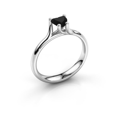 Engagement ring Dewi Heart 925 silver black diamond 0.65 crt