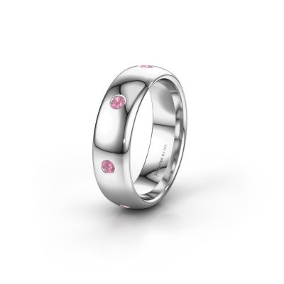 Wedding ring WH0105L36BP 925 silver pink sapphire ±0.24x0.08 in