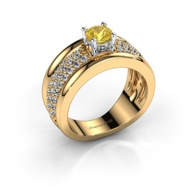 Foto van Ring Alicia 585 goud gele saffier 5 mm