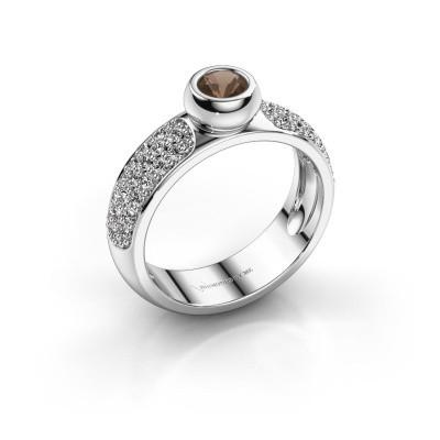 Foto van Ring Benthe 925 zilver rookkwarts 4 mm