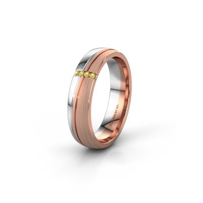 Bague de mariage WH0909L25X 585 or rose saphir jaune ±5x1.5 mm