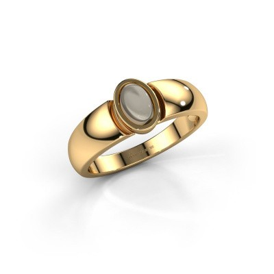 Ring Tonneke 585 goud rookkwarts 6x4 mm