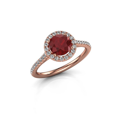 Picture of Engagement ring Seline rnd 2 375 rose gold ruby 6.5 mm