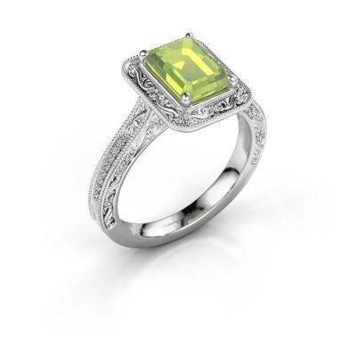 Verlovings ring Alice EME 585 witgoud peridoot 7x5 mm