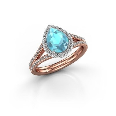 Picture of Engagement ring Elenore 2 585 rose gold blue topaz 8x6 mm