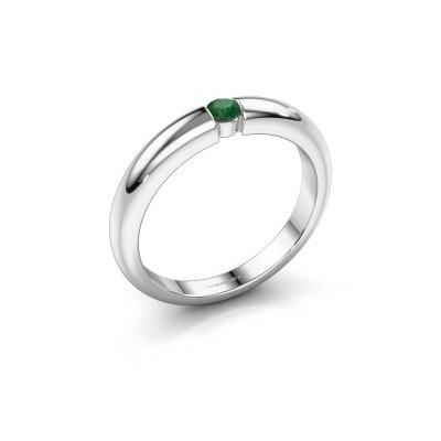 Foto van Verlovingsring Amelia 585 witgoud smaragd 3 mm