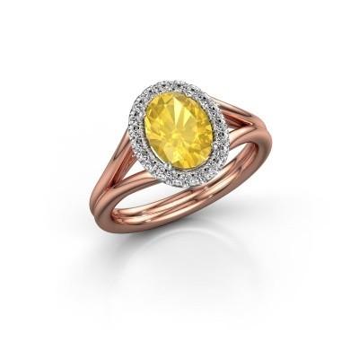 Verlovingsring Rachele 1 585 rosé goud gele saffier 8x6 mm