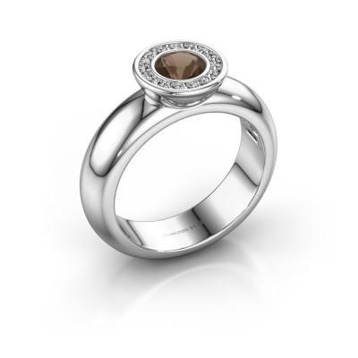 Picture of Stacking ring Anna 585 white gold smokey quartz 5 mm