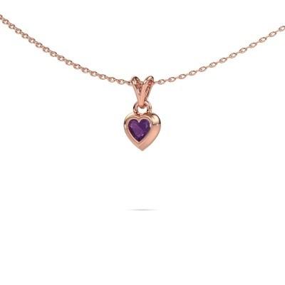 Foto van Hanger Charlotte Heart 375 rosé goud amethist 4 mm
