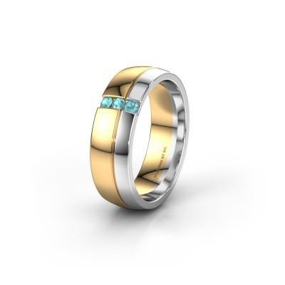 Wedding ring WH0223L56A 585 gold blue topaz ±6x1.7 mm