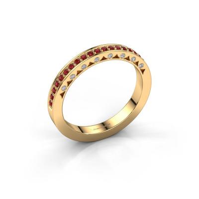 Ring Yasmine 585 goud robijn 1.2 mm