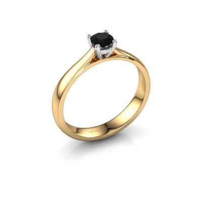 Bague de fiançailles Sam 585 or jaune diamant noir 0.36 crt