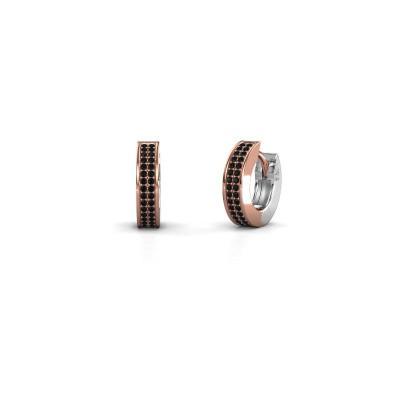 Foto van Creolen Renee 2 9 mm 585 rosé goud zwarte diamant 0.60 crt