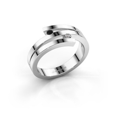 Foto van Ring Roxane 585 witgoud zwarte diamant 0.066 crt