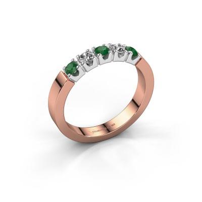 Engagement ring Dana 5 585 rose gold emerald 3 mm
