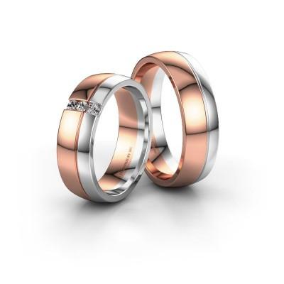 Foto van Trouwringen set WH0223LM56A ±6x1.7 mm 14 Carat rosé goud diamant 0.03 crt