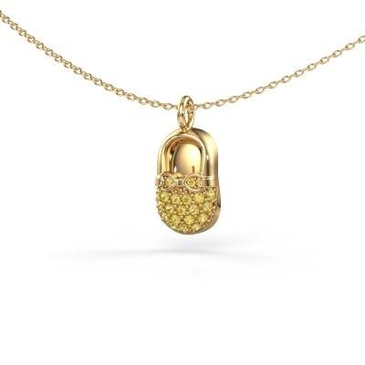 Hanger Babyshoe 585 goud gele saffier 1.3 mm
