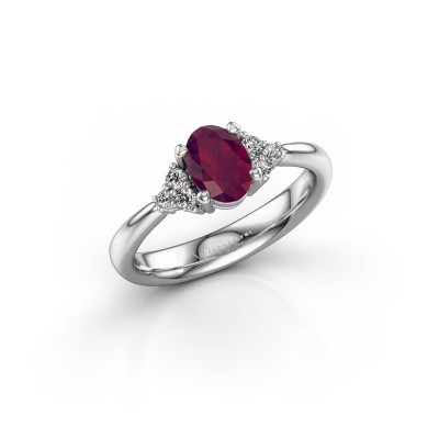 Picture of Engagement ring Aleida OVL 1 585 white gold rhodolite 7x5 mm