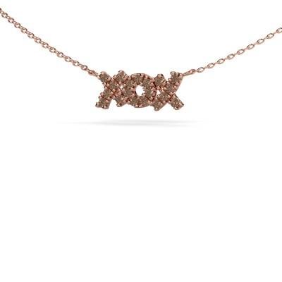 Foto van Ketting XoX 375 rosé goud bruine diamant 0.285 crt