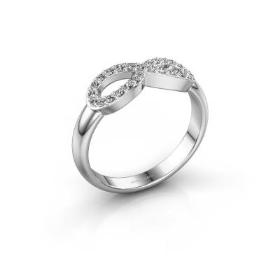 Ring Infinity 2 585 witgoud zirkonia 1.2 mm