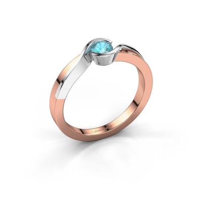 Ring Lola 585 rose gold blue topaz 4 mm