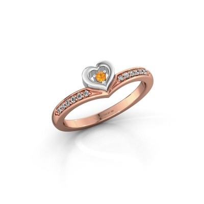 Ring Mimi 585 rosé goud citrien 2 mm