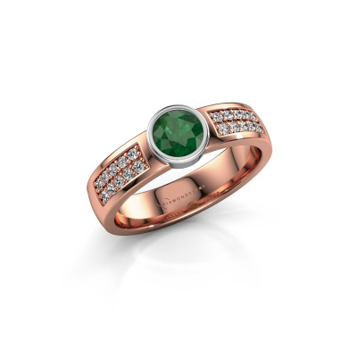 Engagement ring Ise 3 585 rose gold emerald 4.7 mm