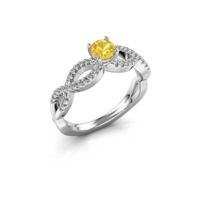 Verlovingsring Hanneke 925 zilver gele saffier 4.7 mm