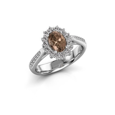 Engagement ring Margien 2 925 silver brown diamond 0.80 crt