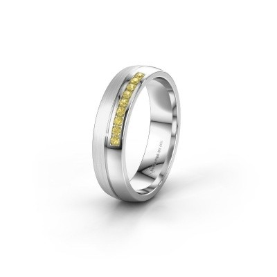 Wedding ring WH0209L25APM 950 platinum yellow sapphire ±0.20x0.07 in