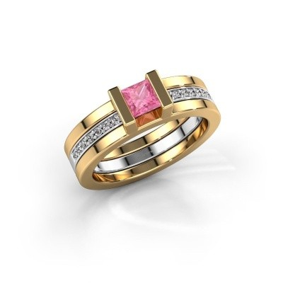 Foto van Ring Desire 585 goud roze saffier 4 mm