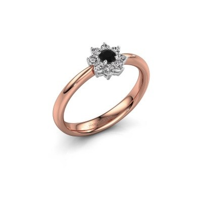 Verlovingsring Camille 1 585 rosé goud zwarte diamant 0.18 crt