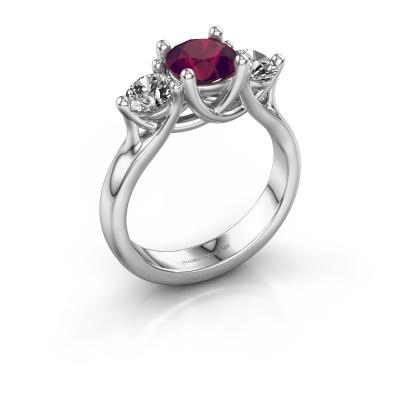 Engagement ring Esila 585 white gold rhodolite 6.5 mm