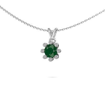 Foto van Hanger Carola 3 925 zilver smaragd 6 mm