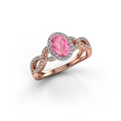 Engagement ring Dionne ovl 585 rose gold pink sapphire 7x5 mm