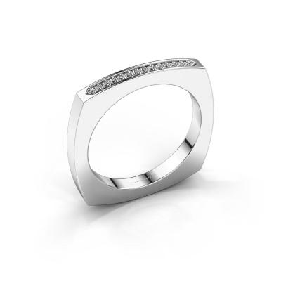 Bague superposable Ashley 585 or blanc diamant 0.065 crt