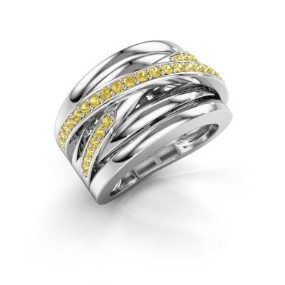 Foto van Ring Clair 3 925 zilver gele saffier 1.5 mm