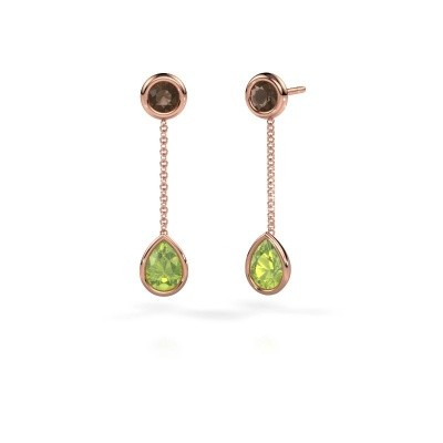 Picture of Drop earrings Ladawn 585 rose gold peridot 7x5 mm