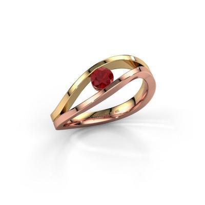 Foto van Ring Sigrid 1 585 rosé goud robijn 4 mm