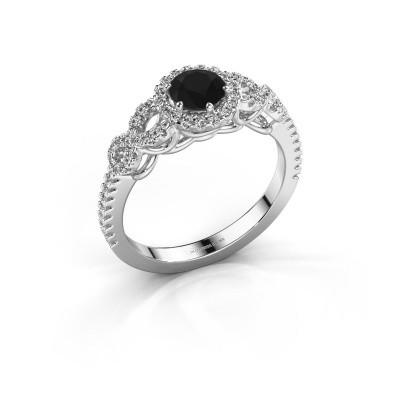 Verlovingsring Sasja 585 witgoud zwarte diamant 0.925 crt