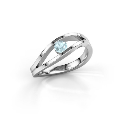 Picture of Engagement ring Sigrid 1 925 silver aquamarine 3.7 mm