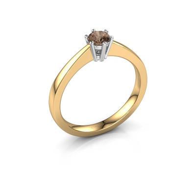 Bague de fiançailles Noortje 585 or jaune diamant brun 0.25 crt