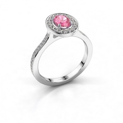 Ring Madelon 2 950 platina roze saffier 7x5 mm