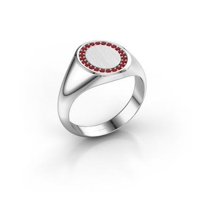 Foto van Heren ring Floris Oval 2 925 zilver robijn 1.2 mm