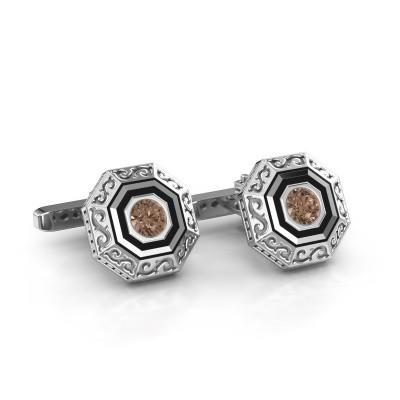 Foto van Manchetknopen Dion 925 zilver bruine diamant 1.00 crt